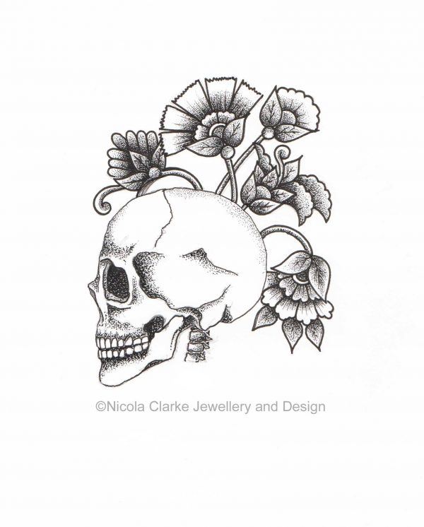 Skull flowers illustration